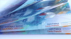 Cash counting. Swiss francs (CHF) banknotes. Easy to loop. Stock Footage