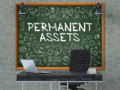 Permanent Assets on Chalkboard in the Office Stock Illustration