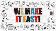 We Make it Easy in Multicolor. Doodle Design - stock illustration