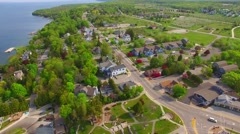 Aerial tour of Scenic Egg Harbor Wisconsin, popular tourism destination. Stock Footage