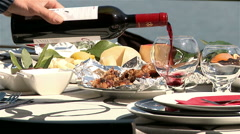 Gastronomy of Portugal with Douro river in background. Stock Footage
