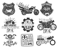 Motorbike Club Vintage Stamp Collection Stock Illustration