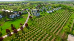 Aerial view of Scenic Egg Harbor Wisconsin, cherry trees blossoming Stock Footage