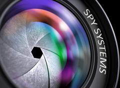 Closeup Front of Camera Lens with Spy Systems Stock Illustration
