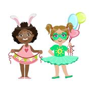 Two Girls With Cute Make Up - stock illustration