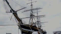 Front of the historical ship Stock Footage