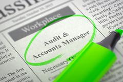 Audit & Accounts Manager Hiring Now - stock illustration