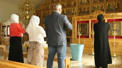 Pray before epiphany in Old confession Orthodox church Stock Footage