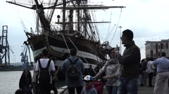 Front view of the ship with people Stock Footage