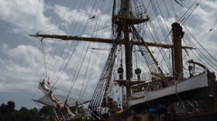 Panoramic of the masts in the ship Stock Footage