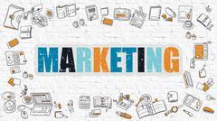 Marketing Concept. Multicolor on White Brickwall - stock illustration