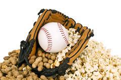Peanuts Popcorn and Baseball Season Stock Photos