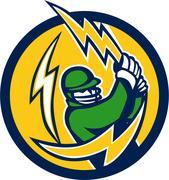 Cricket Player Lightning Bolt Bat Circle Retro. Stock Illustration