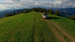 Suv Rides Through the Mountains of the Carpathians. May 2016 Ukraine - stock footage