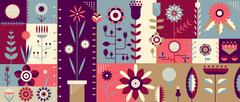 Flowers flat abstract background - stock illustration
