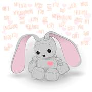 Cute sad bunny robot miss you - stock illustration