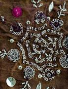 Vintage sari fabric with embellishments. Stock Photos