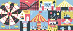 Amusement park background flat - stock illustration