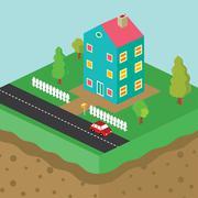 Isometric residential view cartoon theme Stock Illustration
