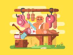 Butcher cuts meat Stock Illustration