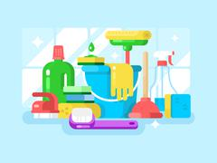 Cleaning tools and detergent - stock illustration