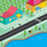 isometric residential view cartoon theme - stock illustration