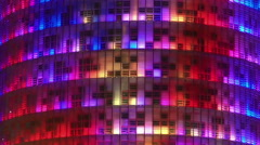 LED show on all-glass building, beautiful illumination, modern art, decoration Stock Footage