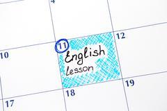Reminder English lesson in calendar Stock Photos