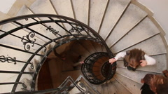 The Spiral stairs St.Stephen's Basilica. Budapest, Hungary - stock footage