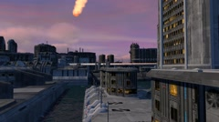 Meteor With Orange Vapor Trail Flying Over Futuristic City Landscape - stock footage