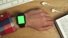smartwatch greenscreen - stock footage