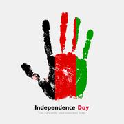 Handprint with the Flag of Afghanistan in grunge style Stock Illustration