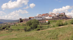 Landscape with castle in north of Portugal. Stock Footage