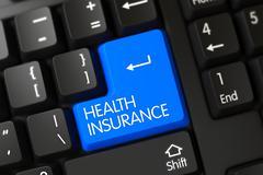 Blue Health Insurance Button on Keyboard Stock Illustration