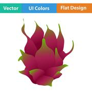 Flat design icon of Dragon fruit - stock illustration