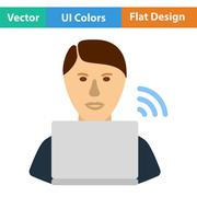 Flat design icon of Businessman sitting behind a laptop - stock illustration
