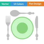 Flat design icon of Silverware and plate Stock Illustration