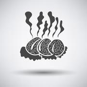 Smoking cutlets - stock illustration