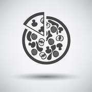 Pizza on plate icon - stock illustration