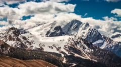 View to mountain from the Sella Pass in the Dolomites, 4k timelapse Stock Footage