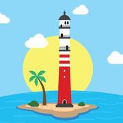 Beach lighthouse seashore view Stock Illustration