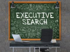 Executive Search on Chalkboard with Doodle Icons - stock illustration