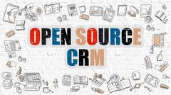Open Source CRM in Multicolor. Doodle Design - stock illustration