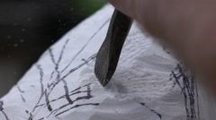The artist creating sculpture of stone. Art studio. Slow Motion. Close-up shot Stock Footage