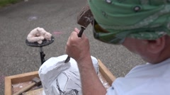 The artist creating sculpture of stone. Art studio. Slow Motion. Close-up shot - stock footage