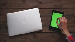 Macbook pro and smartphone Stock Footage