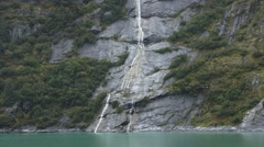 Alaskan Waterfall in the Glacier Fjords of Tracy Arm Stock Footage