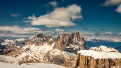 View of the valley from the summit of Sass Pordoi in the Dolomites, 4k timelapse Stock Footage