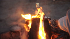 Closeup portrait of a couple fried sausages on bonfire in the forest Stock Footage