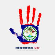 Handprint with the Flag of Belize in grunge style Stock Illustration